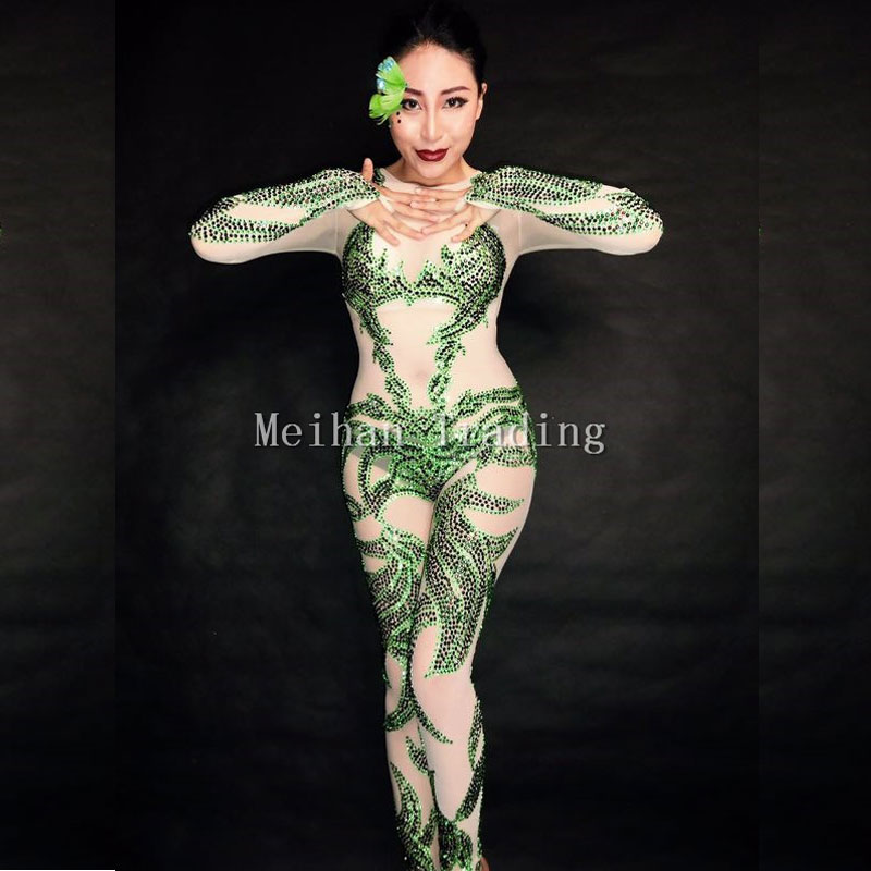 2017 Newest Green Crystals Bodysuit Sexy Nightclub Party Celebrate Jumpsuit Female Singer Stage Dance Wear Performance