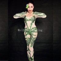 2017 новейший зеленый боди с кристаллами пикантные Клубные вечерние Празднуйте комбинезон певица этап одежда для танцев, сценический костюм