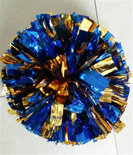 2 pcs Free Shipping adult Cheering pompom with baton handle Metallic cheerleading Pom Pom many color cheerleader