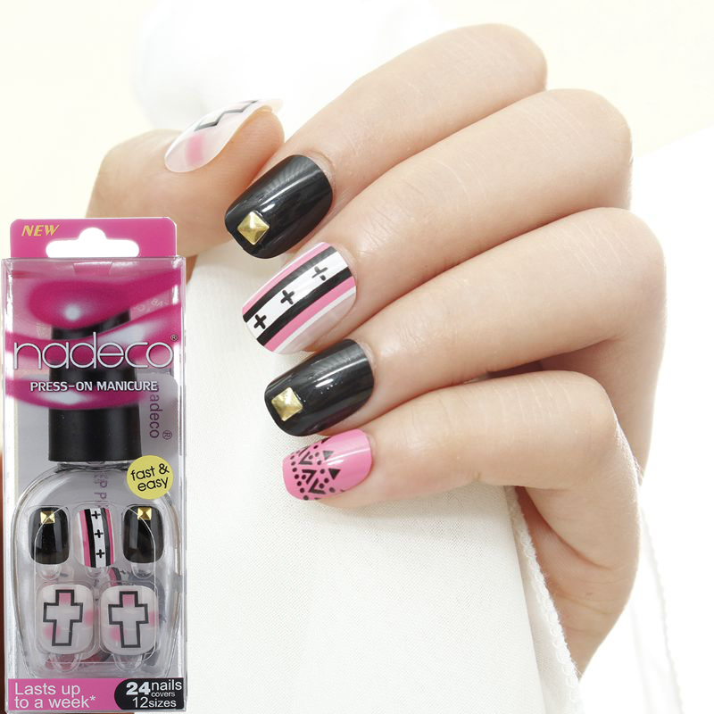 Nadeco Cross Design Press On Nails 24 Nail Set A860