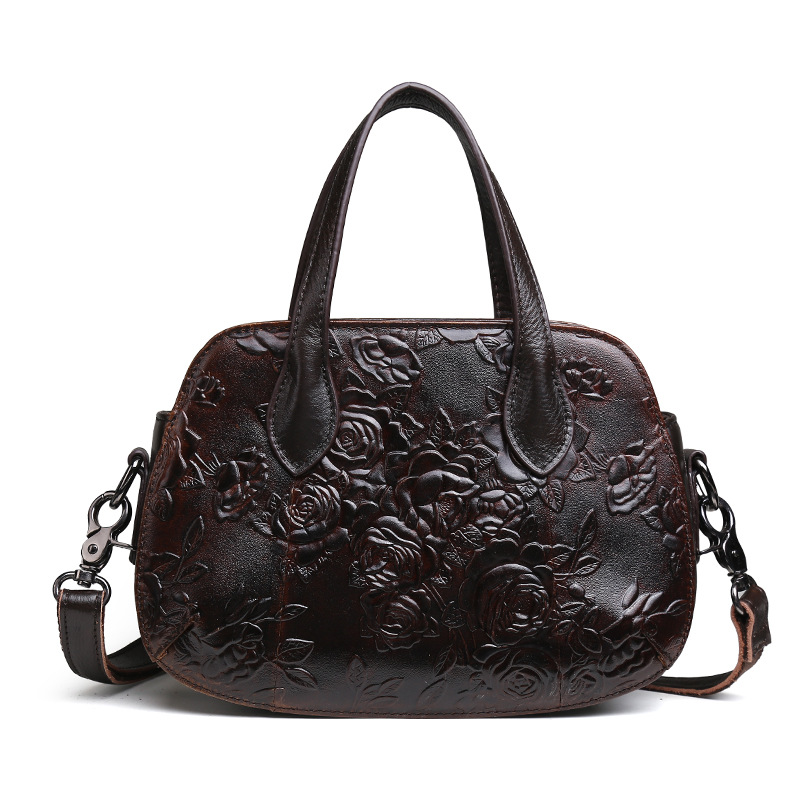 цена Women Genuine Leather handbag inclined shoulder bag women's One shoulder embossing handbag restoring ancient ways 24.5*8*17.5cm
