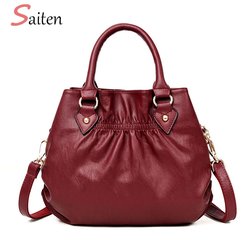 Saiten High Quality PU Leather Women Handbags 2018 Luxury Brands Medium Crossbody Bags For Women bag Ladies casual tote bags Sac