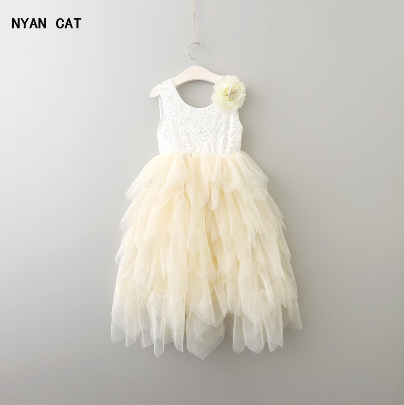 EMS DHL Free New Girls Princess Lace Flower Tiered Tulle Dress Sleeveless For Wedding Party Children Clothes Holiday Wear long arm iron wall light cafe aisle hall project wall lamp bedroom cafe bar club hall coffee shop club store restaurant