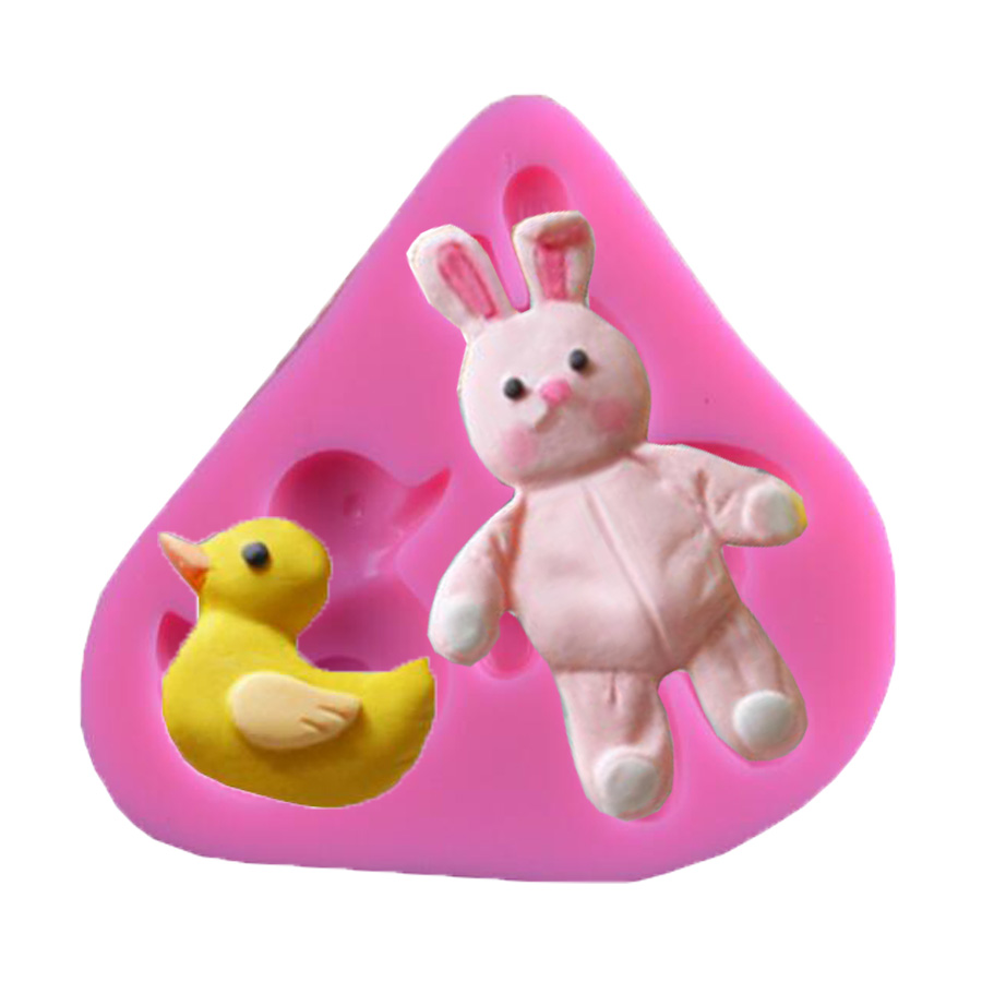 X012 DIY rabbit small yellow duck Silicone Mold Fondant Cake Mould Cake Decoration Tool Chocolate Mould Soap Mold