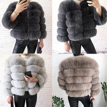 Новинка, стильное пальто из натурального меха, натуральный мех, куртка для женщин, зимняя теплая кожаная шуба из лисьего меха, Высококачественный меховой жилет