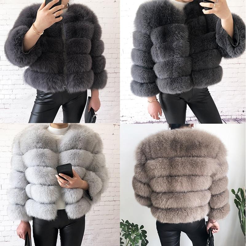 Новинка 2021, стильная шуба из натурального меха, куртка из 100% натурального меха, Женское зимнее теплое кожаное пальто из лисьего меха, Высоко...