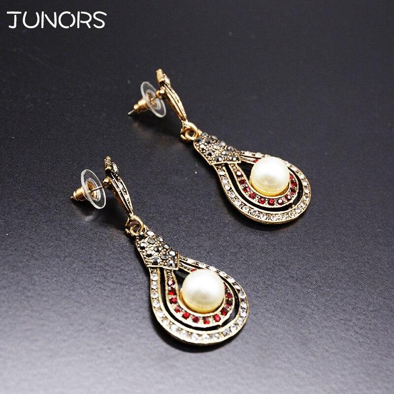 JUNORS 1pcs/lot Pearl Drop Earrings Ethnic Long Clip Crystal Vintage Wholesale Jewelry Earrings Female Long Section Vintage