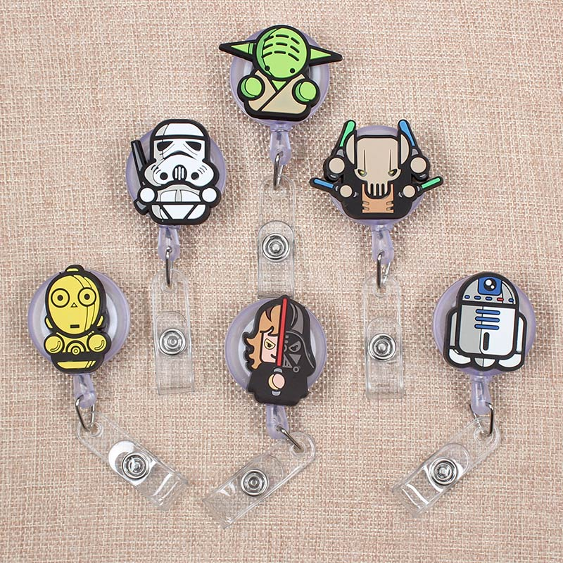 Cartoon Soldiers Heros Retractable Badge Holder Reel Exhibition Enfermera Students Girls Name PU Card Hospital Office Chest Card