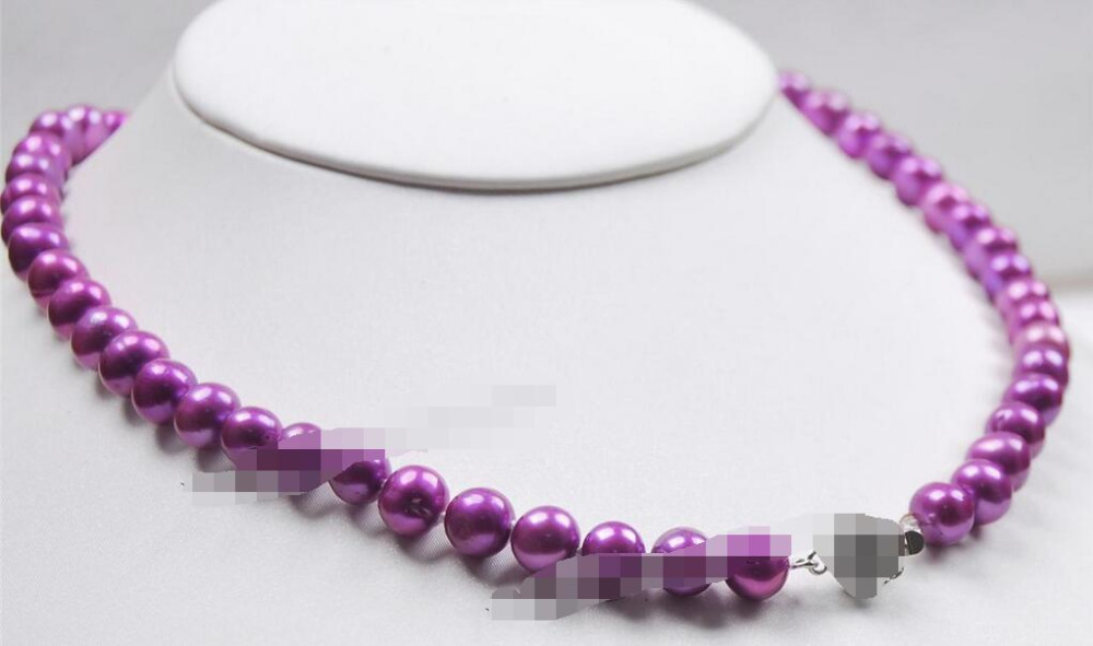 song voge gem nanJ0211 Purple Akoya Cultured Pearl Flower Clasp Necklace