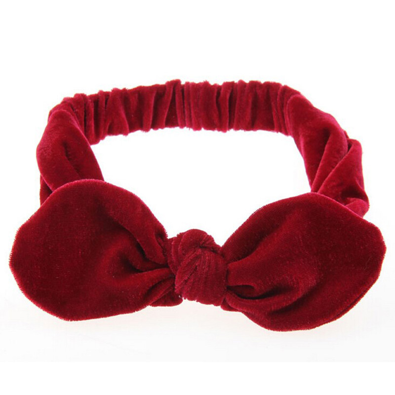Metting Joura Girls Kids Lovely Bohemian Solid Velvet With Bow Elastic Headband Hairband Children Hair Accessories Hair Jewelry metting joura vintage bohemian ethnic colored seed beads flower rhinestone handmade elastic headband hair band hair accessories