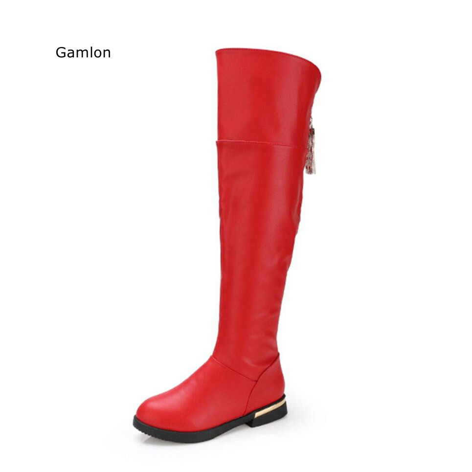 Gamlon Children Boots 2017 Winter Over-the-Knee Girls Shoes Warm Plush Snow Boots For Children Round Toe Beading Princess Boots new winter children snow boots boys girls boots warm plush lining kids winter shoes
