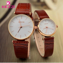 KEZZI Marque Étanche Couples Montres Femmes Japon Mouvement Analogique Quartz Montre Bracelet en cuir Hommes Montres amateurs Horloge