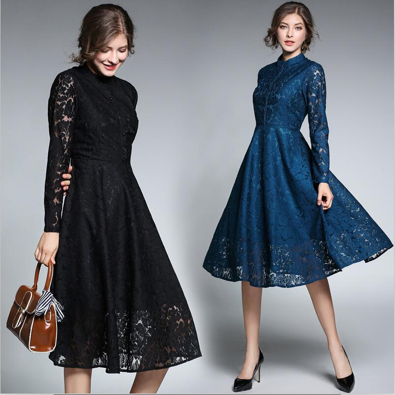 Vintage bleu dentelle robes femmes 2019 automne manches longues col montant robe Feminino évider grande taille Vestidos Mujer