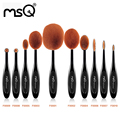 Msq 10 unids/set cepillo de dientes forma oval powder foundation brush kits de cepillo del maquillaje profesional polivalente