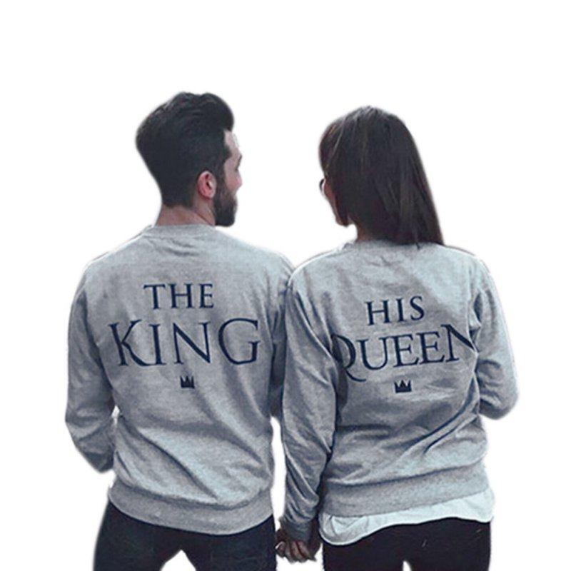 735aba5dbc65cb Spring Couples Lovers Sweatshirts Print KING QUEEN Long Sleeve Hoodies  Men Women Pullovers Stylish Hoodies