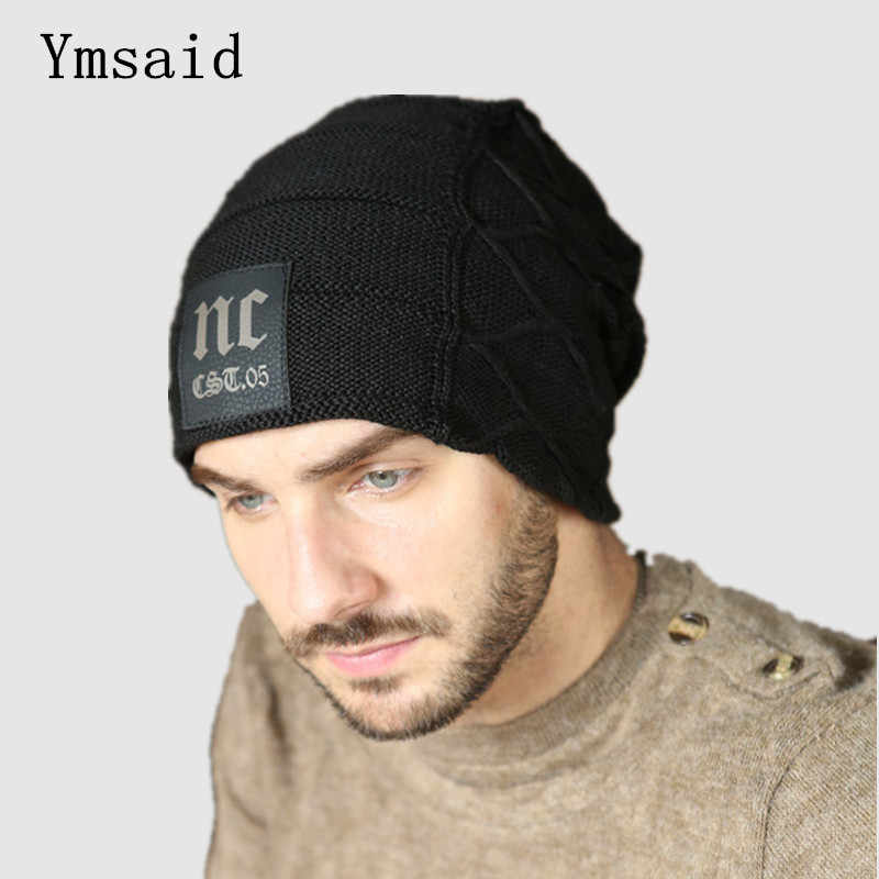 2018 Winter Mens Classic NC Hats Korean Fleece Fashion Beanie Men Snow Caps  Knitted Hats for bdd02bd7e05
