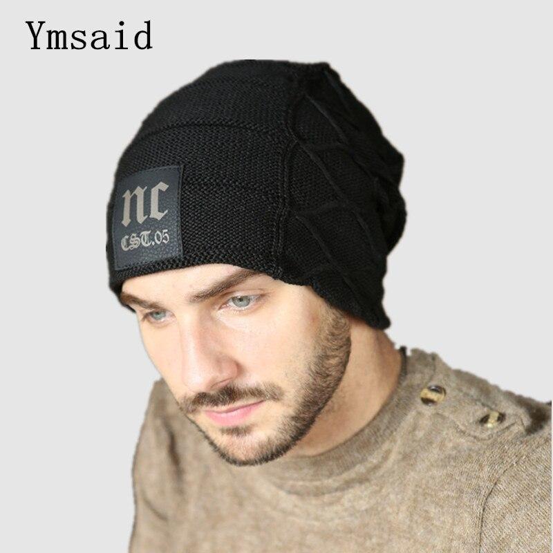 2018 Winter Mens Classic NC Hats Korean Fleece Fashion   Beanie   Men Snow Caps Knitted Hats for Men Chunky Baggy Warm Gorro