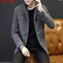 2017 Brand High-Quality Winter New Korean Single-Breasted Men's Woolen Coat Men's Long Wool Woolen Jacket Slim men's Woolen Coat