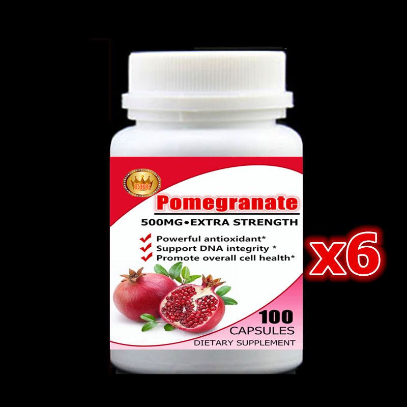 Powerful Antioxidant Support -500mg 600pcs - Pomegranate Extract Capsules,Support DNA integrity & cell health,Free shipping now foods candida support 90 veg capsules free shipping