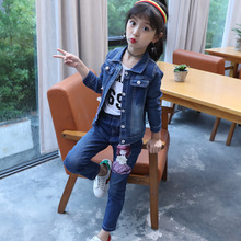 цена на 2018 baby girl clothes spring and autumn girls print denim jacket +jeans body suit kids clothing set girls two piece jean suit