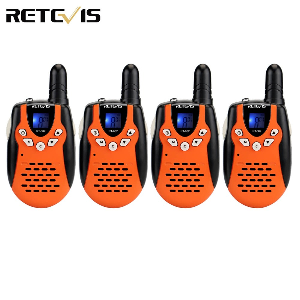 4pcs Retevis RT602 Kids Walkie Talkie UHF 0.5W 8CH LCD Display Children Two Way Radio VOX Rechargable Battery Flashlight A7120