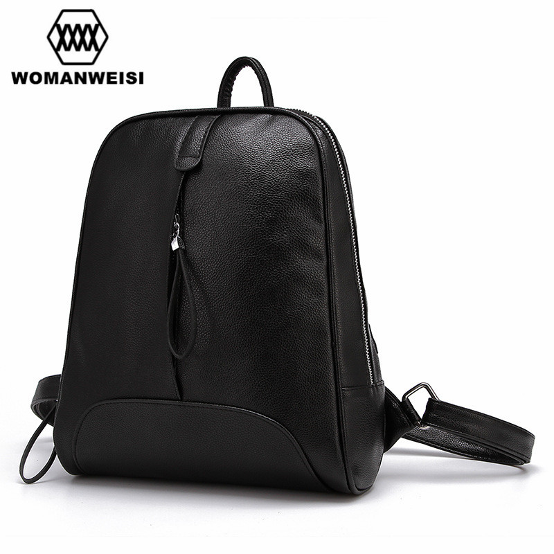 Fashion Simple Style Black Leather Backpack For Teenage Girls 2017 Korean Popular Women Backpacks School Bag