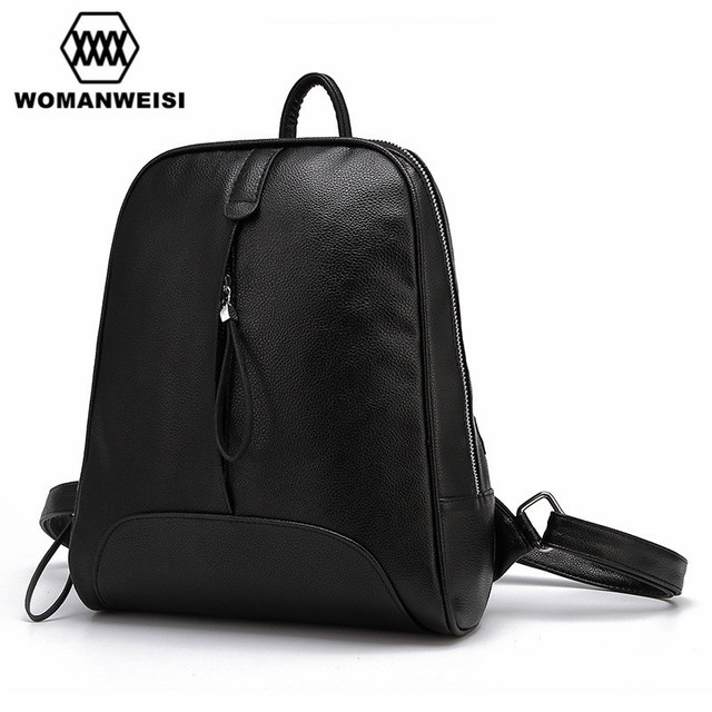 Fashion Simple Style Black Leather Backpack For Teenage Girls 2018 Korean  Popular Women Backpacks School Bag 899dfa28ee8f5
