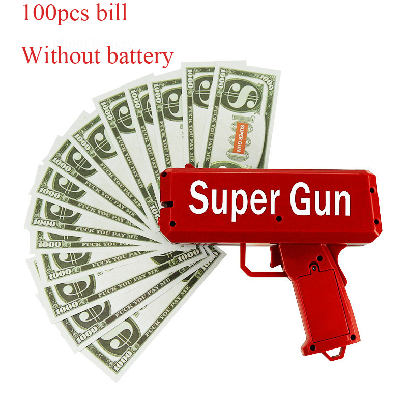 TUKATO Make It Rain Money Gun Red Cash Cannon Super Gun Toys 100PCS Bills Party Game Outdoor Fun Fashion Gift Pistol Toys