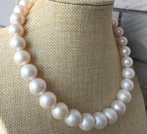 11 12 мм естественный пресноводный белый жемчужное ожерелье 18 дюймов 14 К желтого золота