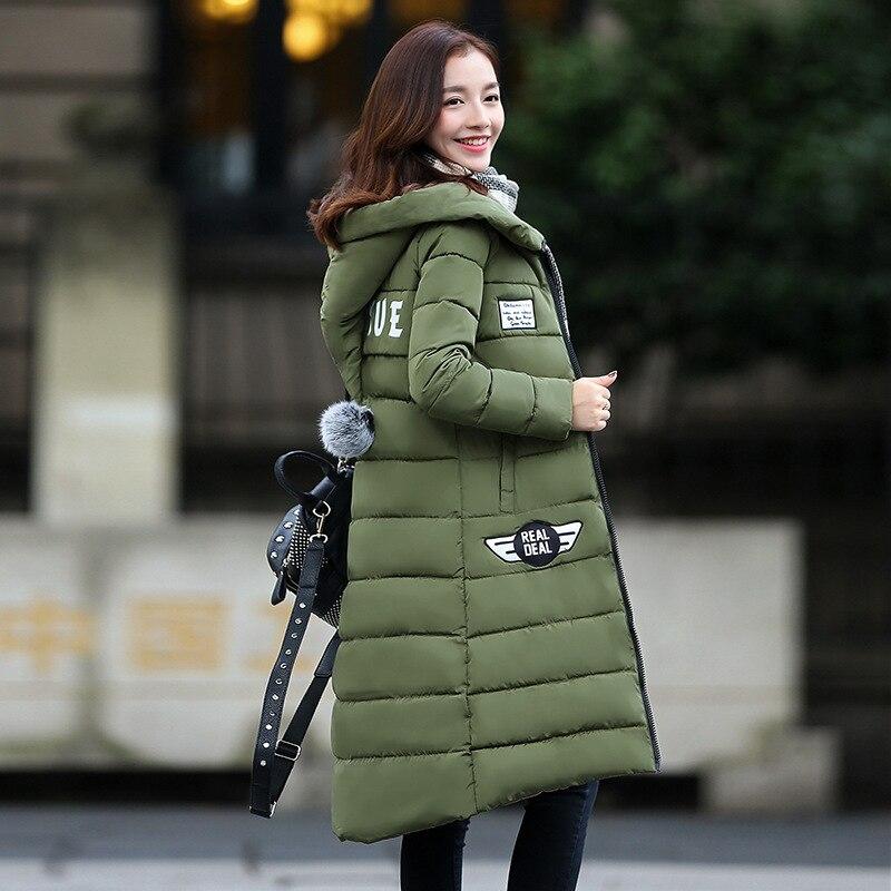ФОТО Mozhini X-long Solid Zipper Thick Full Cotton Winter Cotton Coat Women Outwear Slim Down Padded Long Section Women Down & Parkas
