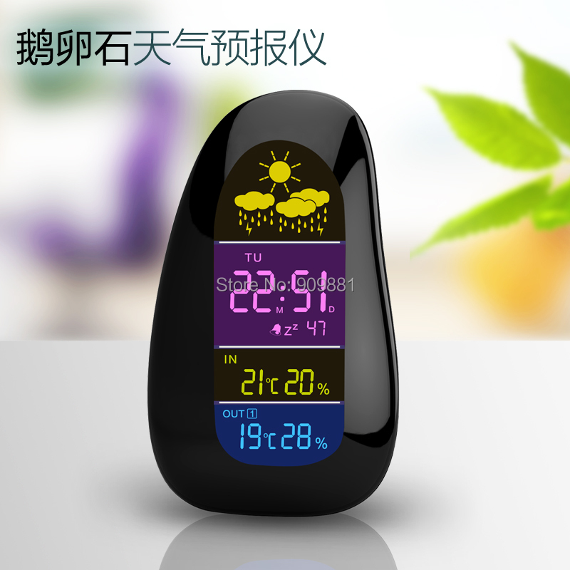 Digital Indoor Outdoor Wireless Weather Station Cobblestone Colorful LED Thermometer Humidity Alarm Clock Sooze RF Remote Sensor weather station digital lcd temperature humidity meter