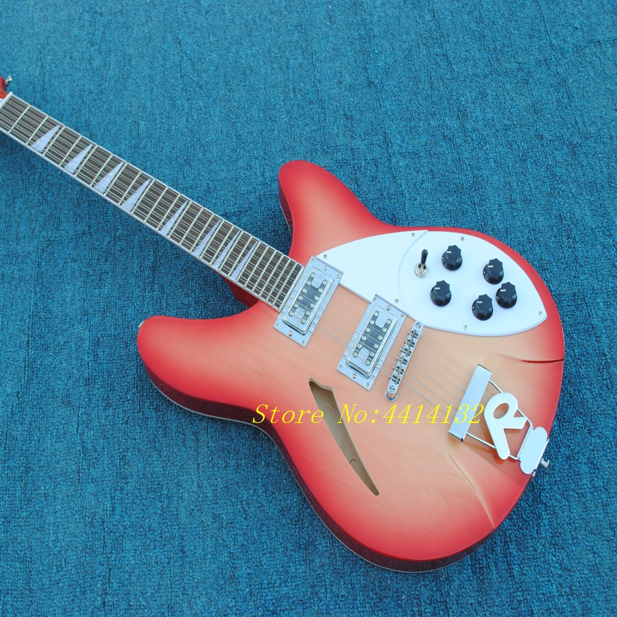 custom sunburst rickenback 360 semi hollow body 12 strings jazz electric guitar ricken guitar. Black Bedroom Furniture Sets. Home Design Ideas