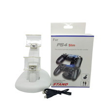 2016 White PS4 Slim PS4 Dual USB Charging Dock Stand Support Holder Charger for Playstation 4 Slim PS4 Game Wireless Controller