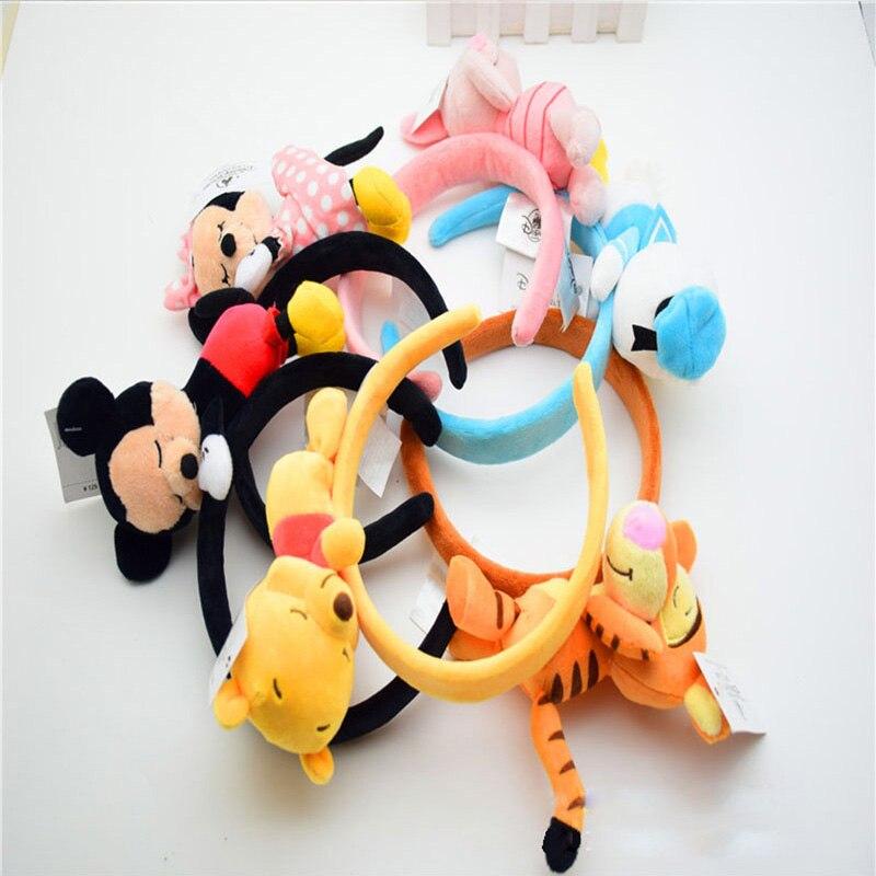 Disneyland Accessories Mickey Ears 3D Doll Headband Minnie Winnie The Pooh Donald Duck Hair Children Girls Plush Toys Headdress