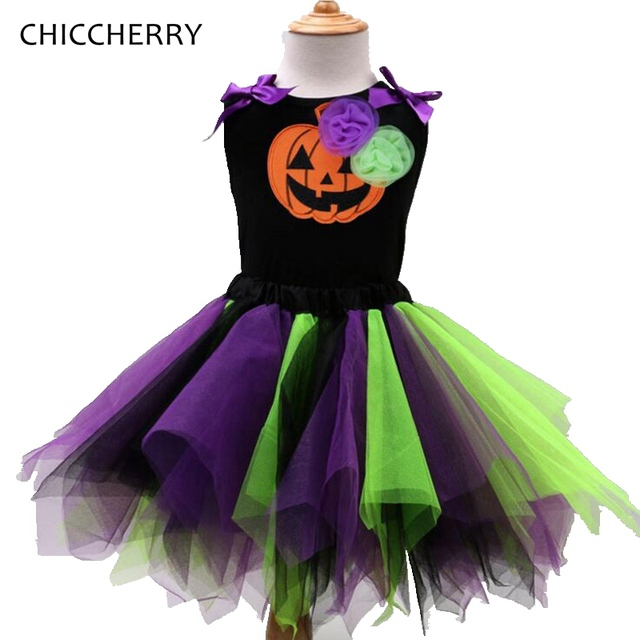 Fashion Baby Pumpkin Halloween Costumes For Kids Clothes Girls Halloween Outfits Tops + Lace Tutu Skirts Children Clothing Sets