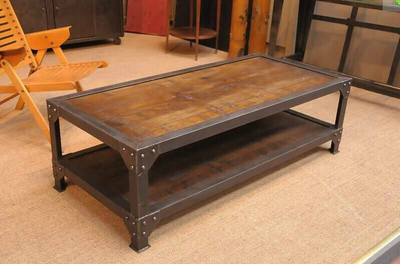 Attractive Wood And Iron Furniture. American Country Style Wrought Iron Furniture  Industry Wood Coffee Table Loft