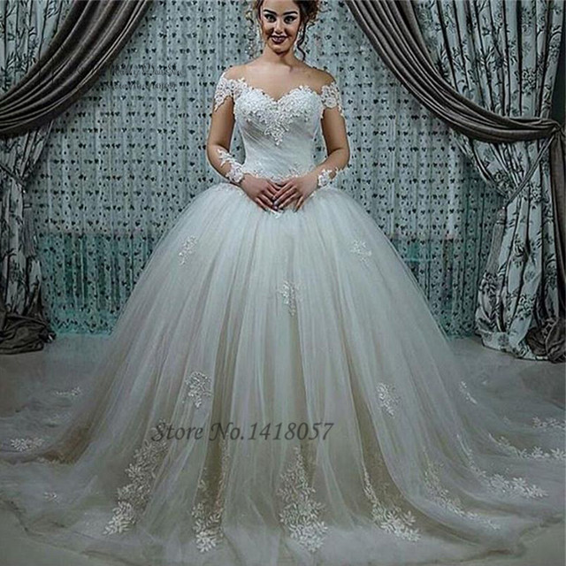 Robe de Mariage Fashion Puffy Ball Gown Wedding Dresses Turkey China  Wedding Gowns Long Sleeve Lace Bride Dress 2017 Tulle Boda 0cca3175e1b0