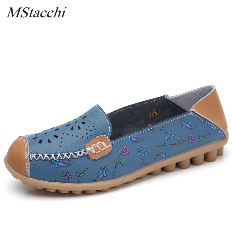 Mstacchi New Summer Cutouts Genuine Leather Shoes Woman Appliques Flats Casual Shoes Sewing Ballet Shoes Comfortable Mom Shoes plardin new summer plus size women cutouts genuine leather mom shoes comfortable sewing buckle flats nurse casual ballet flats