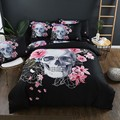 Набор постельного белья s Sugar Skull и цветочный пододеяльник комплект из 3 предметов  Готическая постельное белье с цветочным принтом  Комплект...