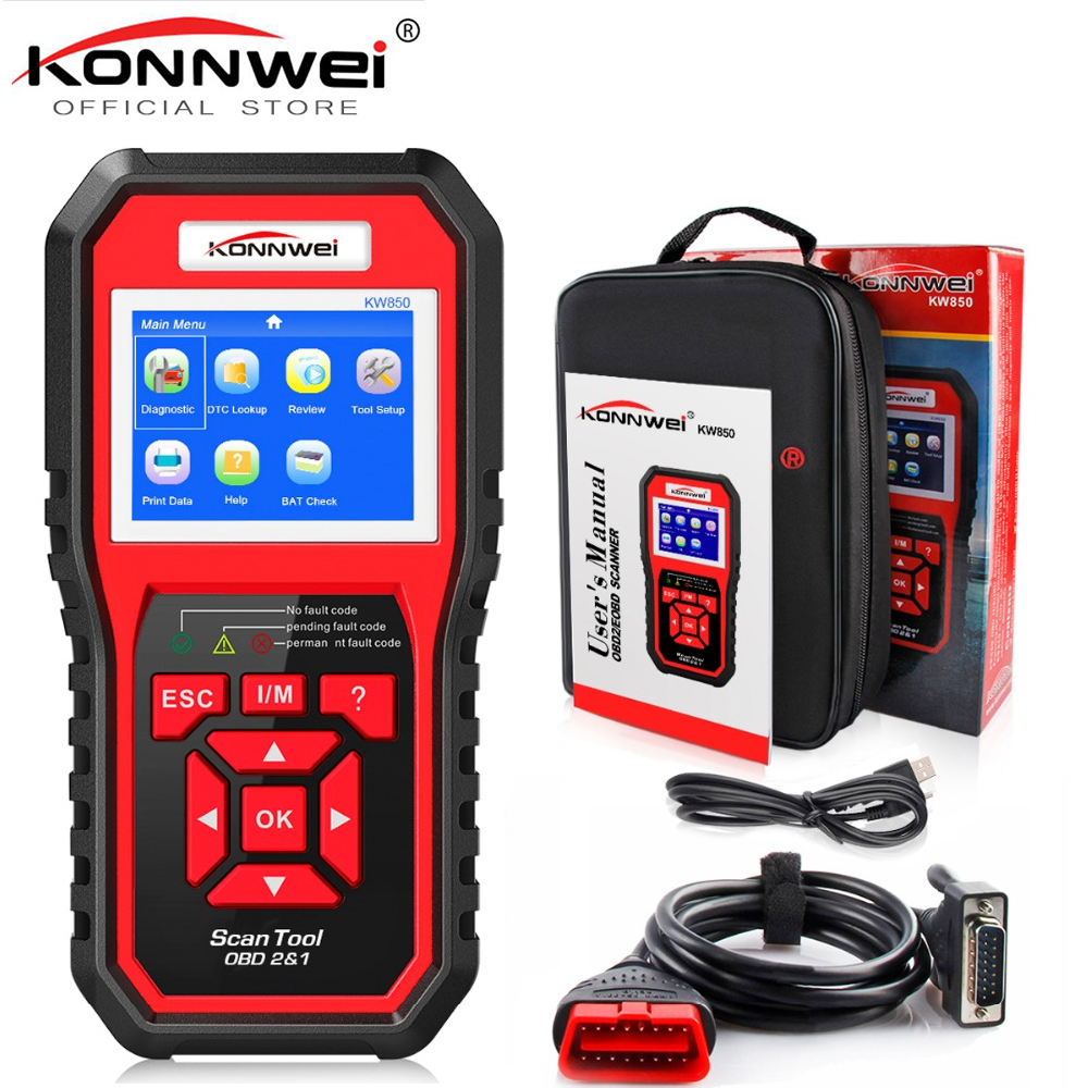 KONNWEI OBD OBD2 Automotive Scanner Fault Code Reader With Multi-language ODB2 Car Diagnostic Tool Auto Scanner BEST OBD 2 KW850 2017 latest konnwei diagnostic code reader car fault auto scanner tool kw830 obdii eobd car detector automotive tool