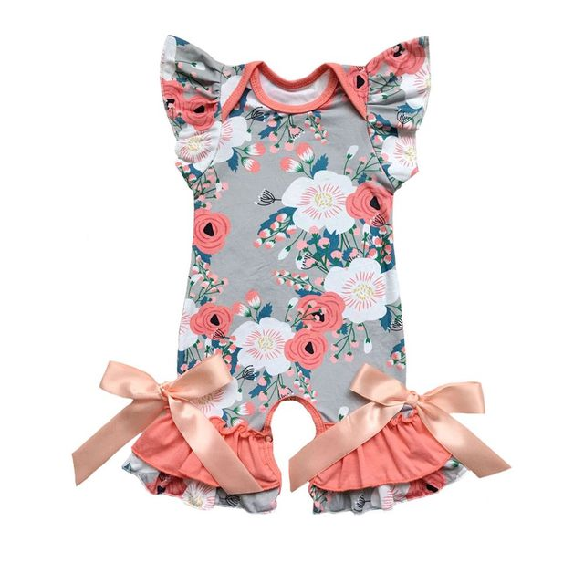 8ee89084e1ef Grey Flwoers Spring Summer baby clothes romper floral baby gowns with ruffle  flutter sleeve capris leg