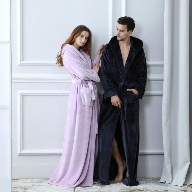 a173547dcb9 Lovers Plus Size Flannel robe Hooded extra Long Warm Bathrobe Men Women  Thick Winter Kimono Bath Robe Male Dressing Gown Robes