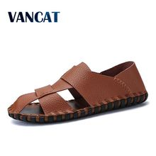 VANCAT 2018 Summer Handmade Genuine Leather Men Shoes Casual Soft Hollow Driving Shoes Beach High Quality Outdoor Sport Sandals
