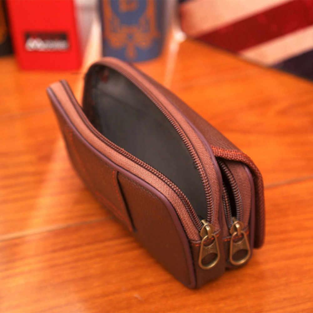 Alta Qualidade Dos Homens de Negócios de Embreagem Carteira Money Bags Primeira Camada de Couro Bolsa de Pulso de Couro Real Titular do Cartão de Carteiras de Cigarro