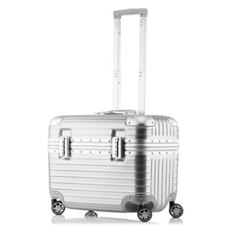 Valise de voyage d'affaires de compagnie aérienne valise en aluminium de bagage roulant 18 pouces boîtier de chariot d'ordinateur ABS PC Spinner boîtes d'embarquement