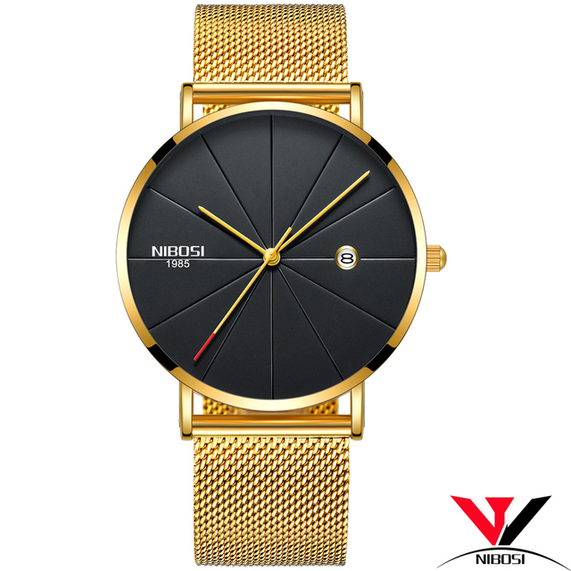 NIBOSI Simple Mens Watches Top Brand Luxury Clock Quartz Watch Men Slim Mesh Steel Waterproof Sport Watch Relogio Masculino Saat