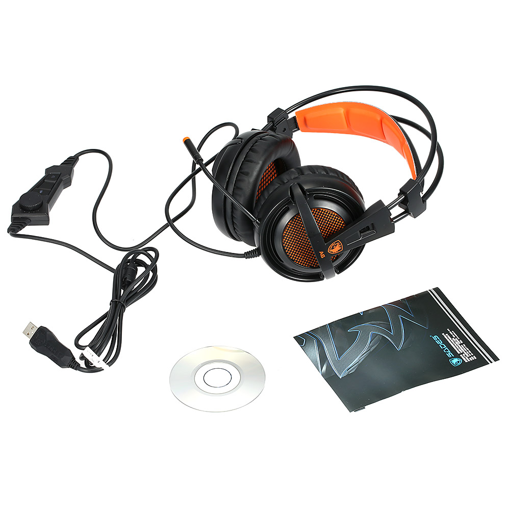 SADES A6 USB 7.1 Stereo wired gaming headphones game headset over ear with mic Voice control for laptop computer gamer 15