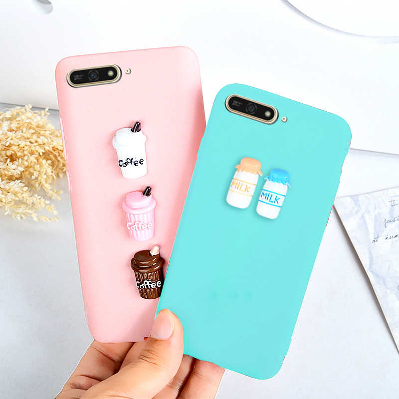 Case For Huawei Y6 2018 Huawei Y6 Prime 2018 Cute 3D Coffee Milk Candy Soft TPU Phone Cases For Huawei Honor 7A / 7A Pro Cover