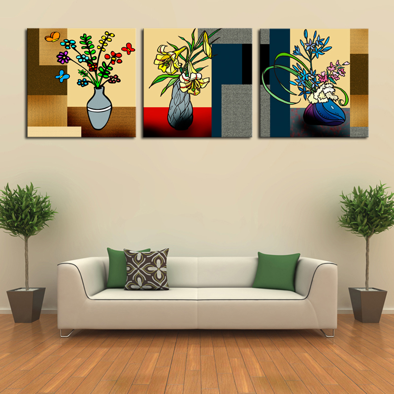 Unframed 3 Panels Abstract Art Flowers Canvas Print