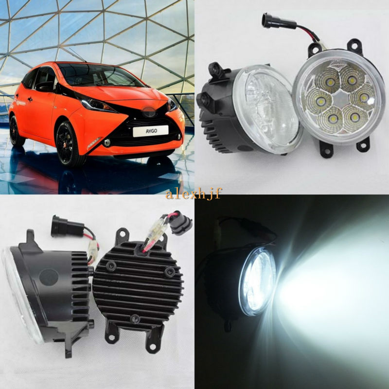 ФОТО July King 18W 6500K 6LEDs LED Daytime Running Lights LED Fog Lamp Case for Toyota Aygo 2005~ON, over 1260LM/pc